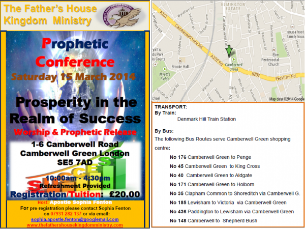Prophetic Conference: Prosperity in the Realm of Success @ Camberwell Green | United Kingdom